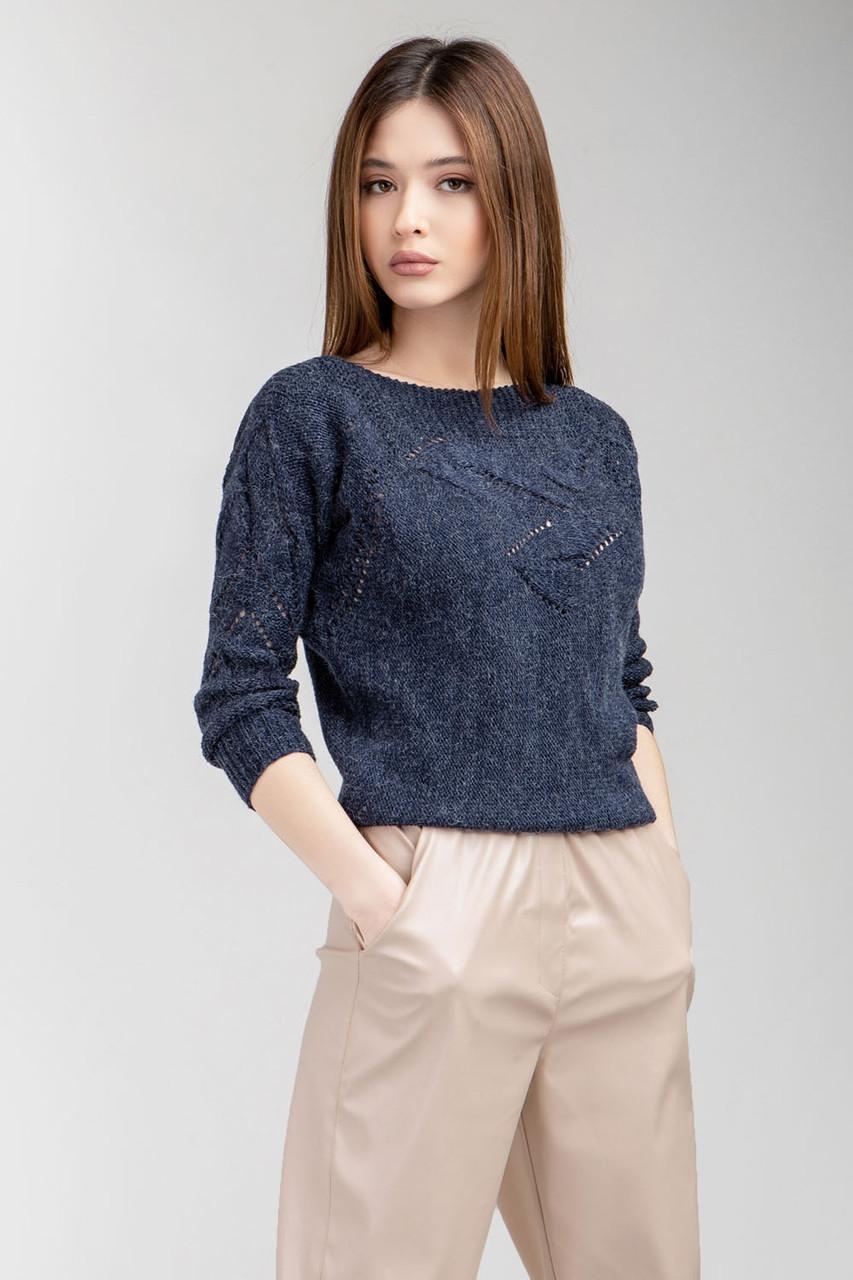 Модний жіночий джемпер темно-синього кольору