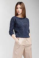 Модний жіночий джемпер темно-синього кольору, фото 1