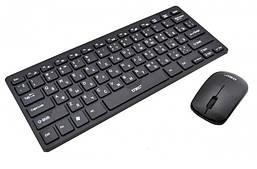 Чорна беспроводная мини клавиатура + мышка UKC K03 (комплект клавиатура с мышкой офисная) кириллица, латиница
