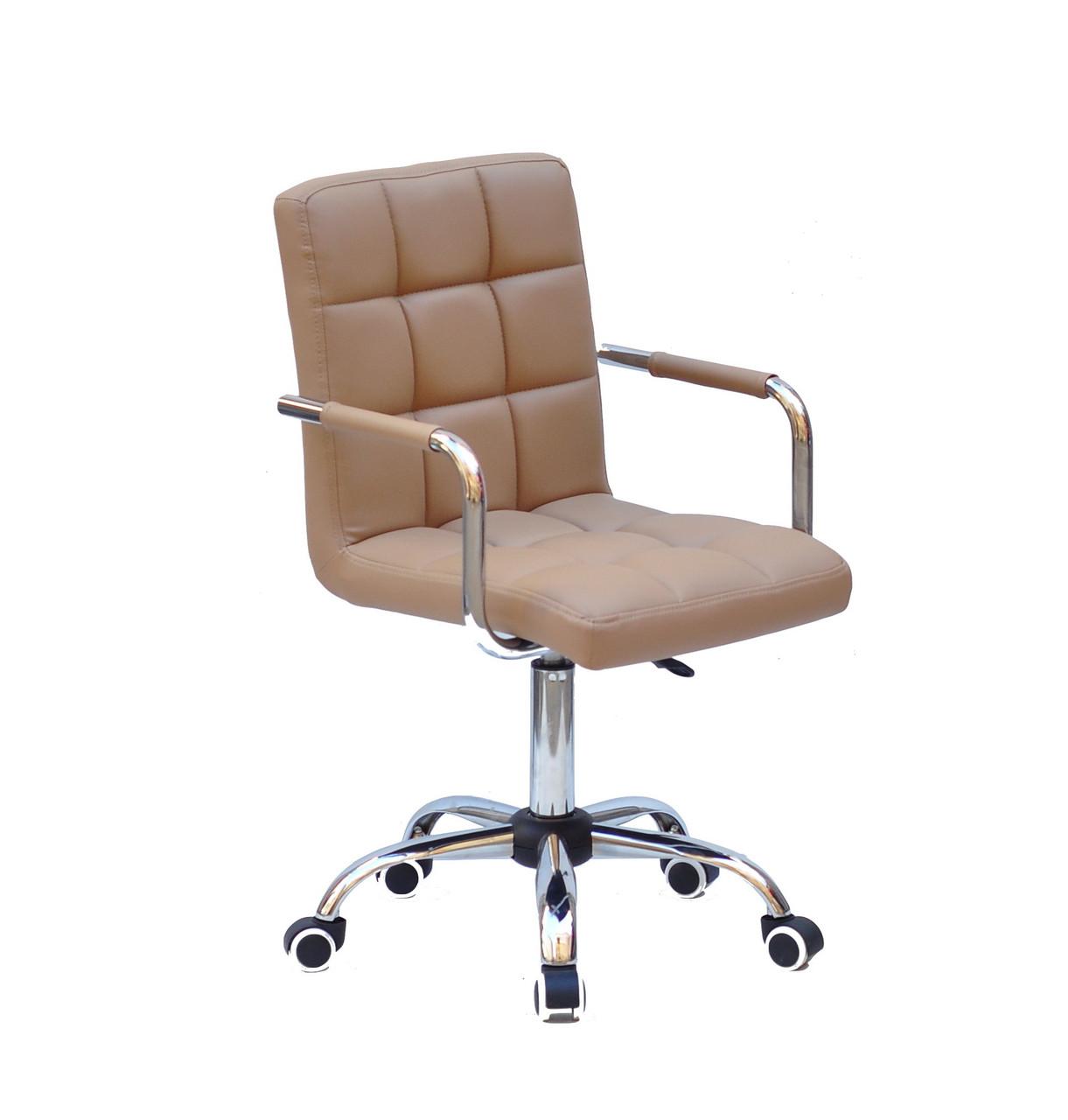 Кресло с подлокотниками Августо Augusto-ARM CH - Office бежевая экокожа на колесиках, хром