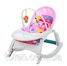 Шезлонг-Качалка детская музыкальная 7788 3в1 Розовый, вибрация, обеденный столик, мелодии