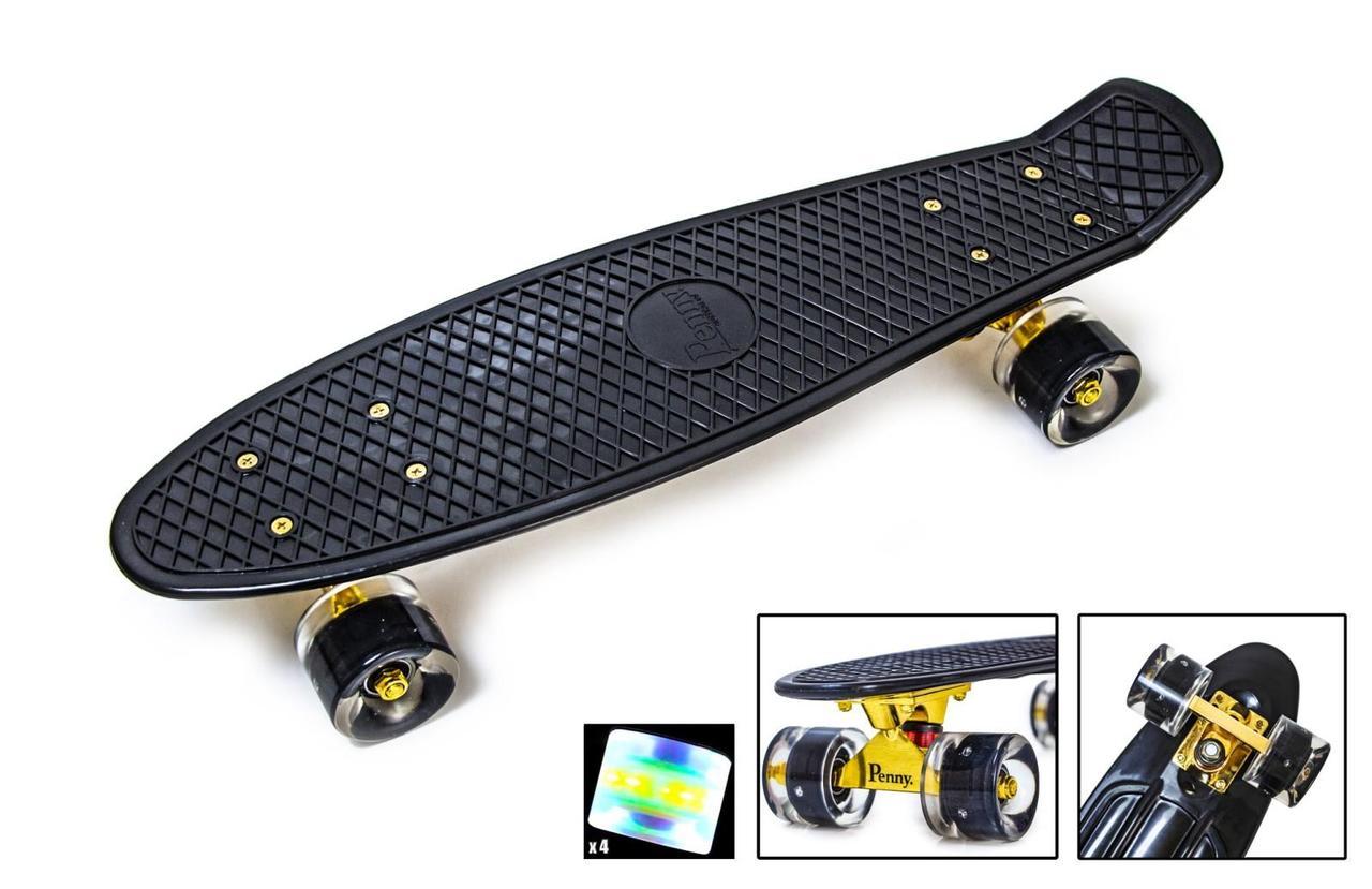 Penny board black gold подвеска, светящиеся колеса