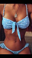 Купальник роздільний блакитний в горошок з рюшами на плавках і зав'язкою на ліфі, фото 3