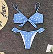Купальник роздільний блакитний в горошок з рюшами на плавках і зав'язкою на ліфі, фото 2