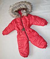 Детский зимний комбинезон человечек унисекс 1-2 года, цельный, для девочек и мальчиков красный