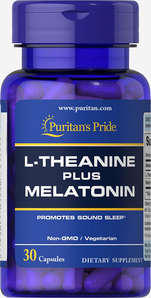 Для поліпшення сну Puritan's Pride L-Theanine plus Melatonin 30 caps