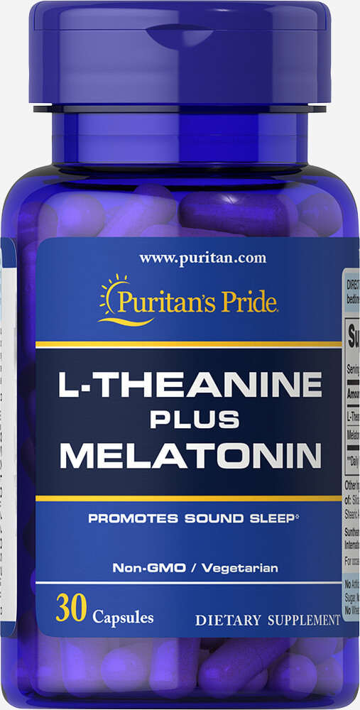 Для улучшения сна Puritan's Pride L-Theanine plus Melatonin 30 caps