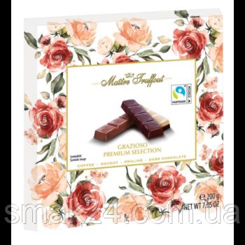 Шоколад Maitre Truffout Grazioso Австрия 200г (4 вкуса в упаковке ...кофе, нуга, пралине и темный шоколад