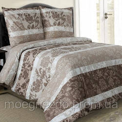 Полуторное постельное белье бязь гост коричневый вензель ТМ Блакит  хлопок 120 г/м. кв.