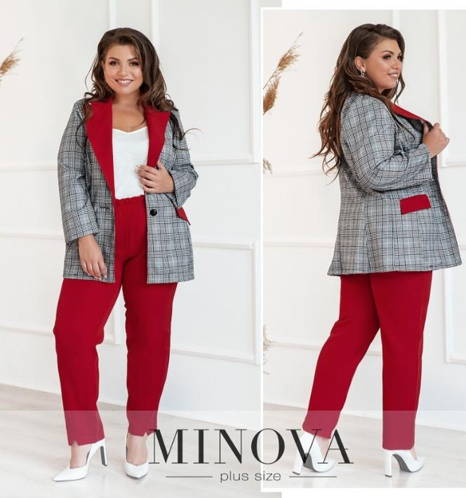 Костюм-двойка батал с пиджаком и брюками цвет красный Размеры: 50.52.54.56.58.60.