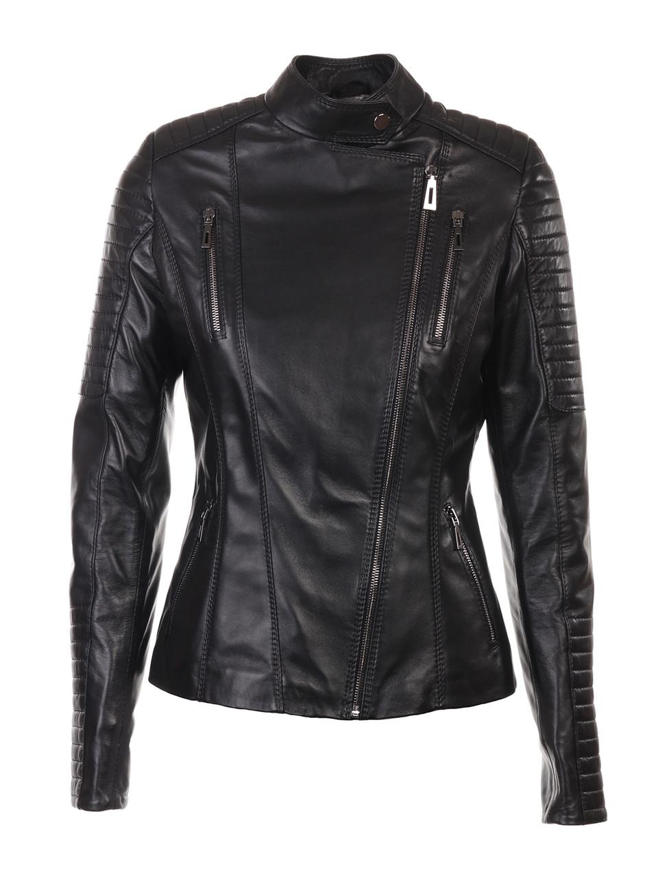 Куртка кожаная косуха VK черная короткая (Арт. FLR201)