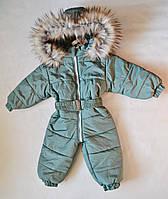 Детский зимний комбинезон человечек унисекс 1-2 года, цельный, для девочек и мальчиков оливковый, фото 1