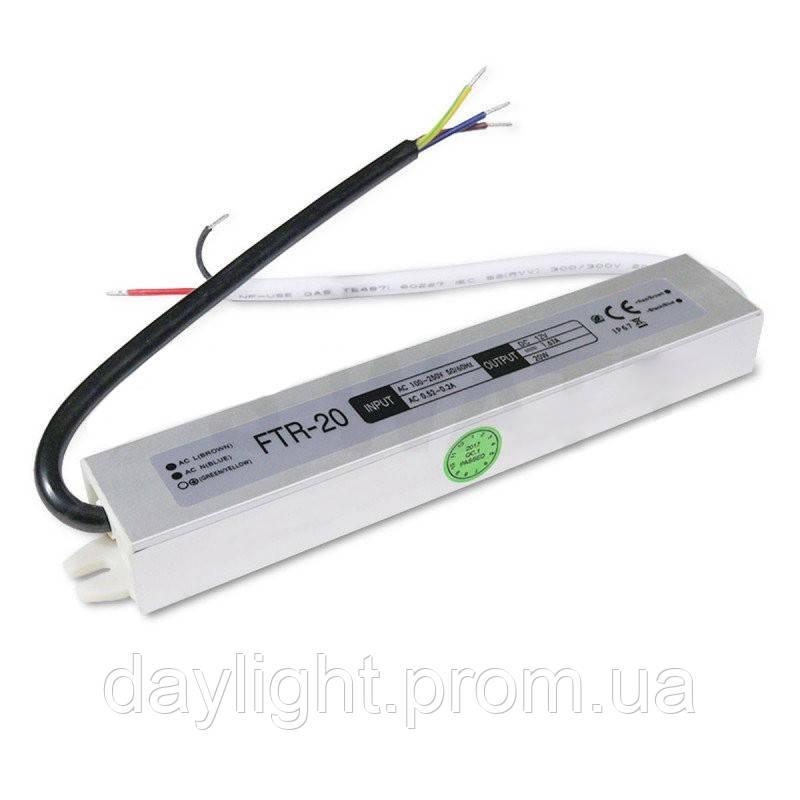 Блок питания 12v герметичный 20W 1.66A FTR для светодиодной ленты