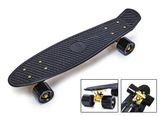 Penny board black gold подвеска, матовые колеса, фото 2