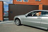 Сдвижные ворота с полотном из профлиста в алюминиевой раме DoorHan