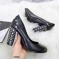 Кожаные Женские туфли, туфли лодочки черного цвета на высоком каблуке