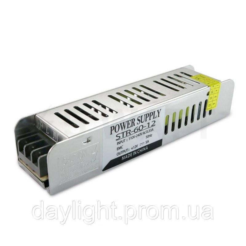 Блок питания 12v 60W 5A STR для светодиодной ленты