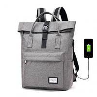 Рюкзак-сумка с USB зарядкой серый, школьный ранец, школьный рюкзак, рюкзак
