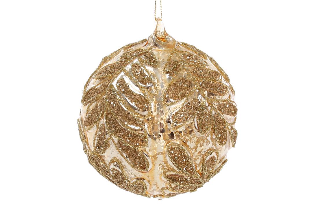 Елочный шар 10см, цвет - золотой глянец с узором