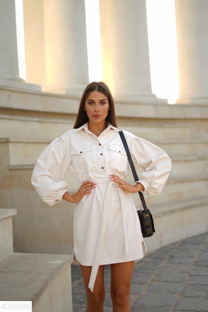 Стильное красивое женское платье экокожа S M L xl Белый