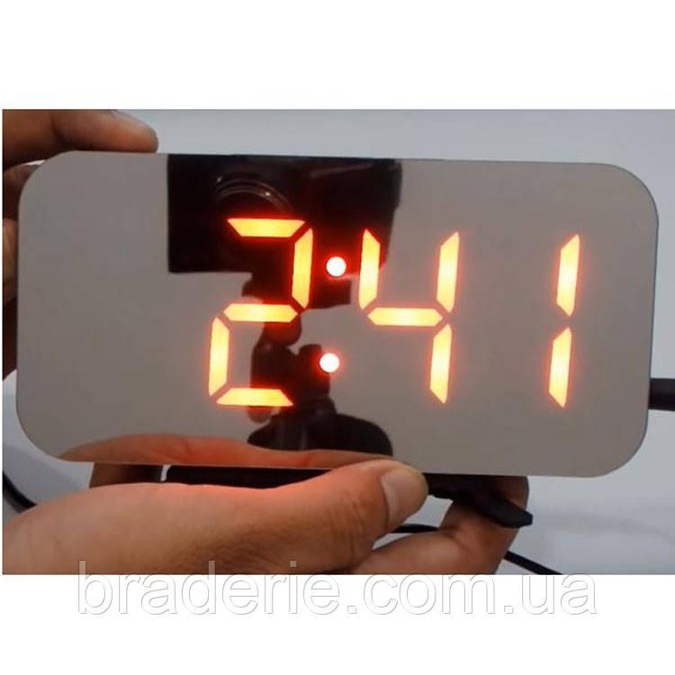 Настольные зеркальные часы DS-3625 с подсветкой красное свечение
