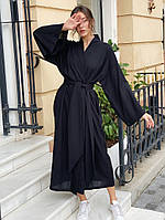 Женское льняное платье кимоно.