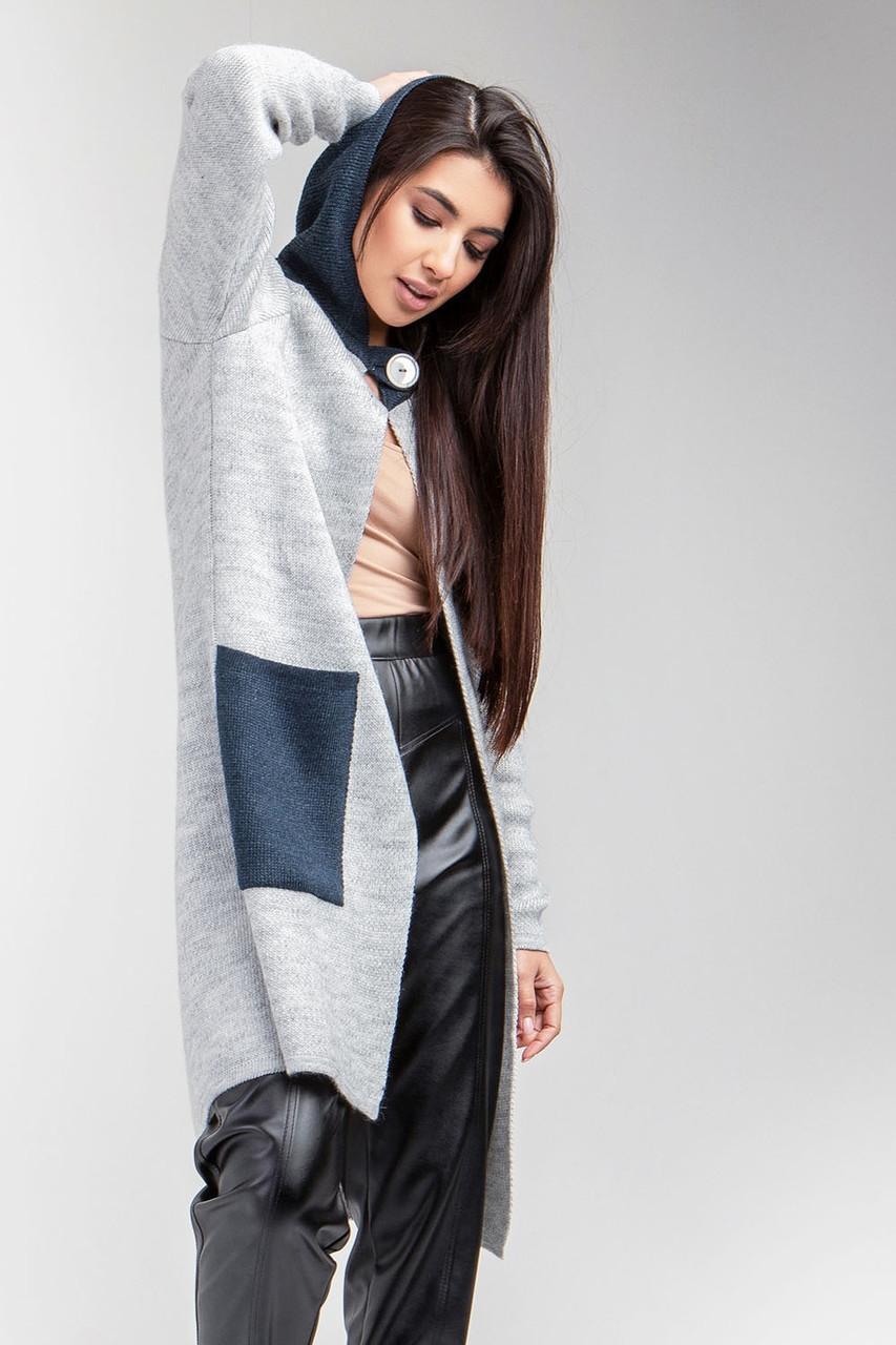 В'язане пальто з теплою в'язки з капюшоном світло-сірий/індиго