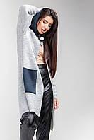В'язане пальто з теплою в'язки з капюшоном світло-сірий/індиго, фото 1