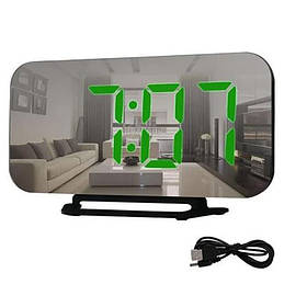 Настольные зеркальные часы DS-3625 с подсветкой зеленое свечение