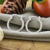 Серебряные серьги-гвоздики ТС520320б размер 18х3 мм вставка белые фианиты вес 3.6 г, фото 2