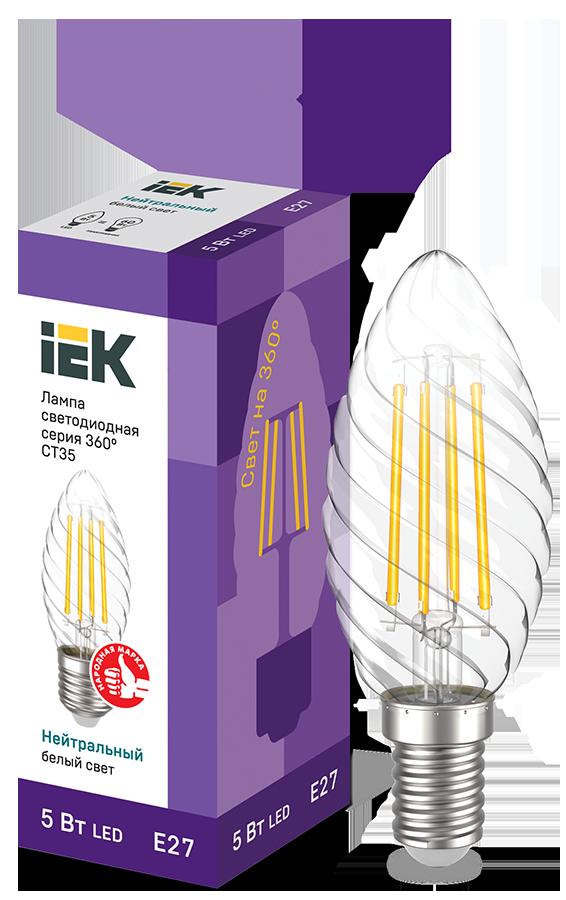 Лампа LED CT35 свеча витая 5Вт 230В 4000К E27 серия 360° IEK