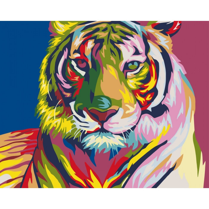 "Картина по номерам. Животные, птицы ""Тигр поп - арт"" 40х50см. KHO2436"
