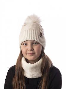 Вязаний комплект з помпоном для дівчинки - Артикул 2487 оптом
