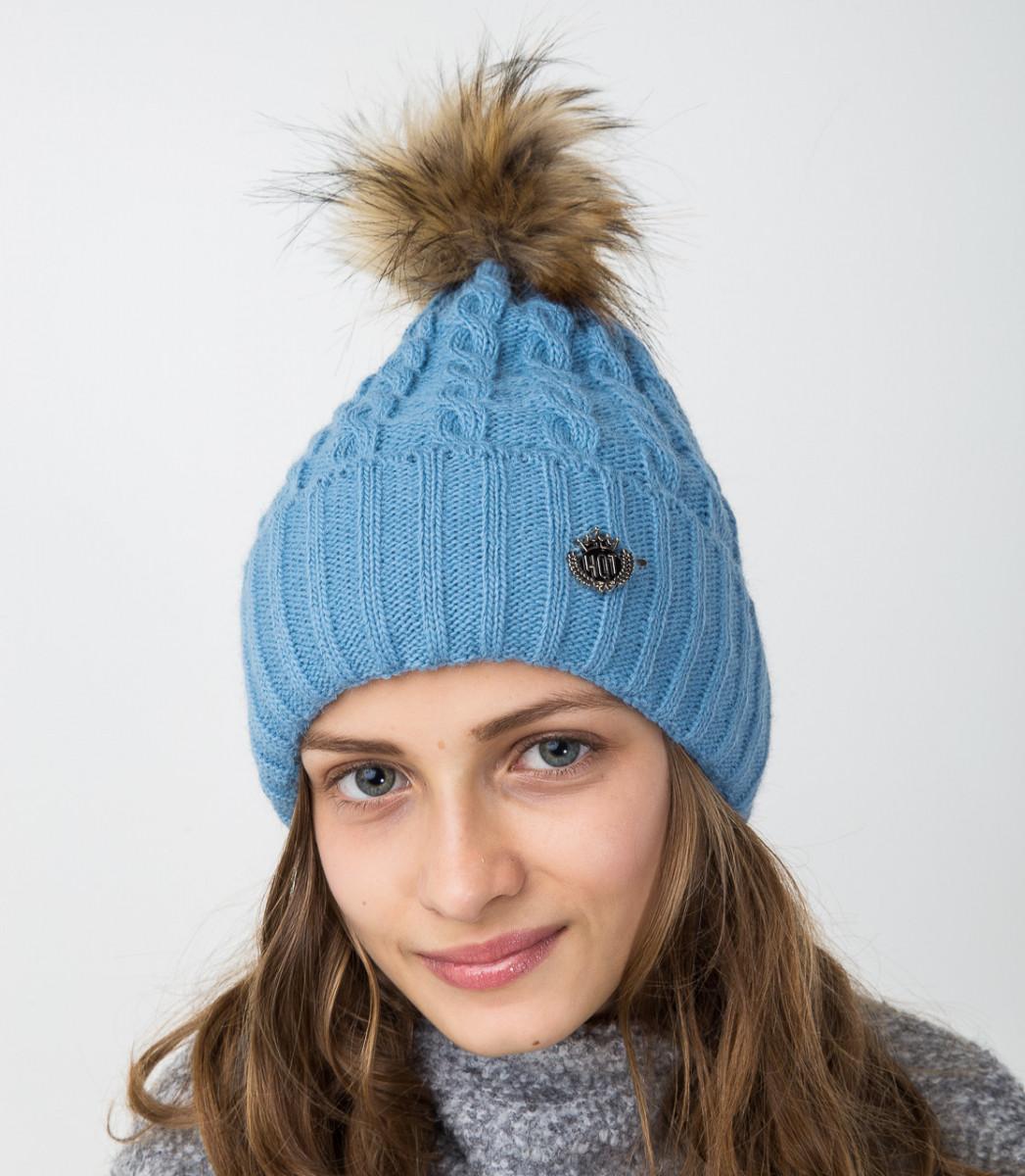 Голубая вязанная шапка с меховым помпоном для девочек - Артикул 2122-5