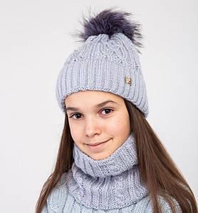 Зимовий вязаний комплект з помпоном для дівчинки оптом- Артикул 2496