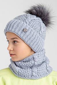 Зимовий вязаний комплект з помпоном для дівчинки оптом- Артикул 2564