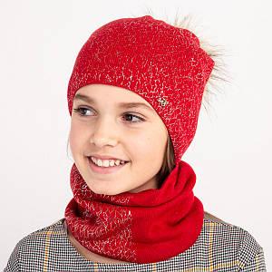 Зимовий комплект для дівчинки з помпоном оптом - Артикул 2396