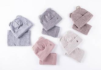 Комплект для девочки (шапка и хомут) на флисе сезона осень-зима - Артикул 2411