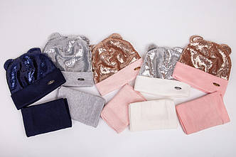 Комплект для дівчинки (шапка і хомут) на флісі сезону осінь-зима оптом - Артикул 2454