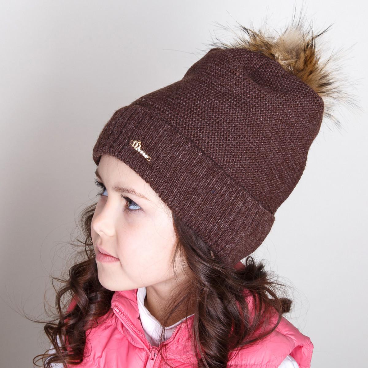 Стильная зимняя шапка с меховым помпоном для девочек - Артикул pd-1