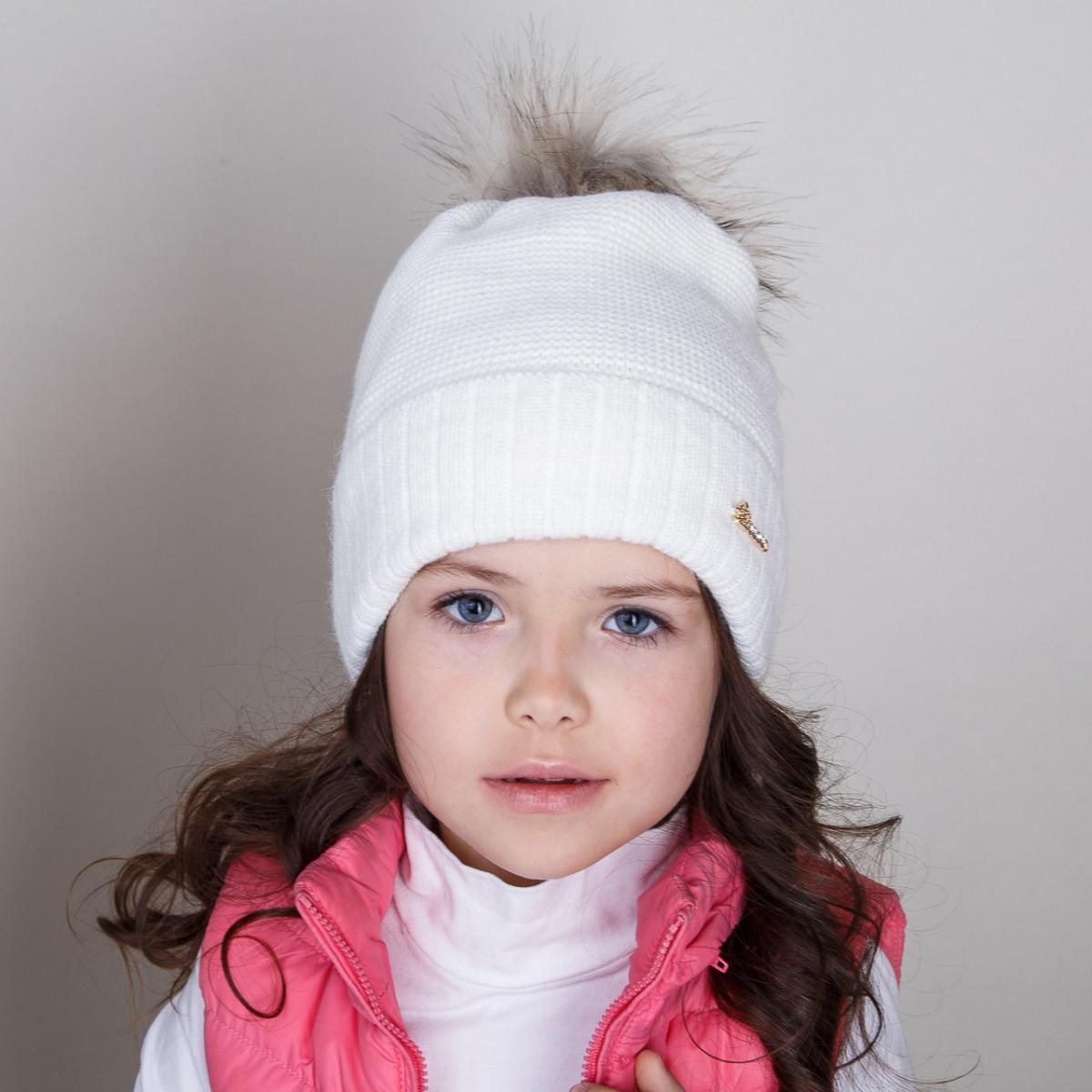 Шапка с меховым помпоном для девочек на зиму - Артикул pd-5