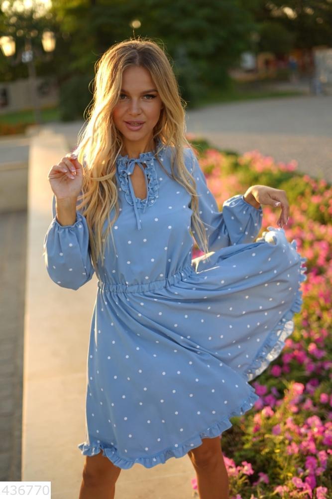 Стильное женское платье в горох S M L XL Голубой