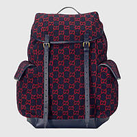 Gucci Large GG Wool Backpack Blue/Red, фото 1