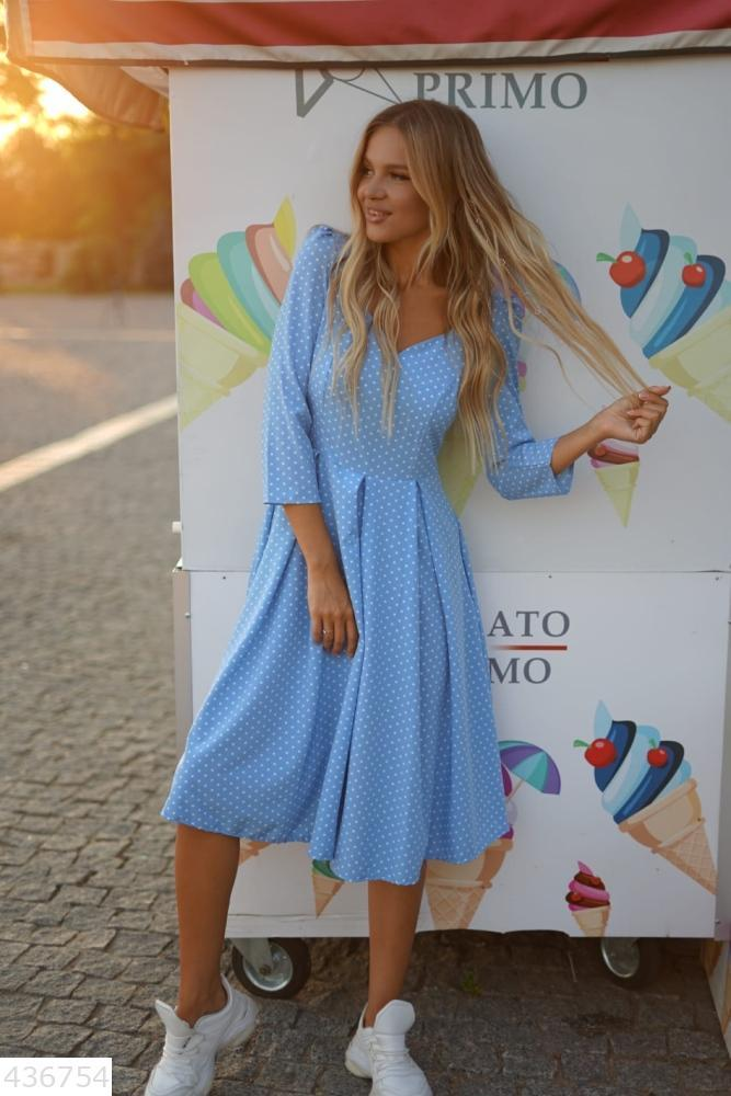 Красивое стильное женское платье миди в горошек Голубой
