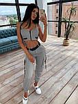 Женский костюм тройка: бомбер + брюки карго + топ бюстье, фото 9
