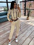 Женский костюм тройка: бомбер + брюки карго + топ бюстье, фото 8