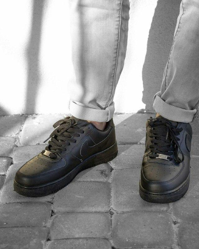 Мужские Кроссовки Nike air force 1low black / Кожа / Чоловічі кросівки, Найк/ размер 41-46