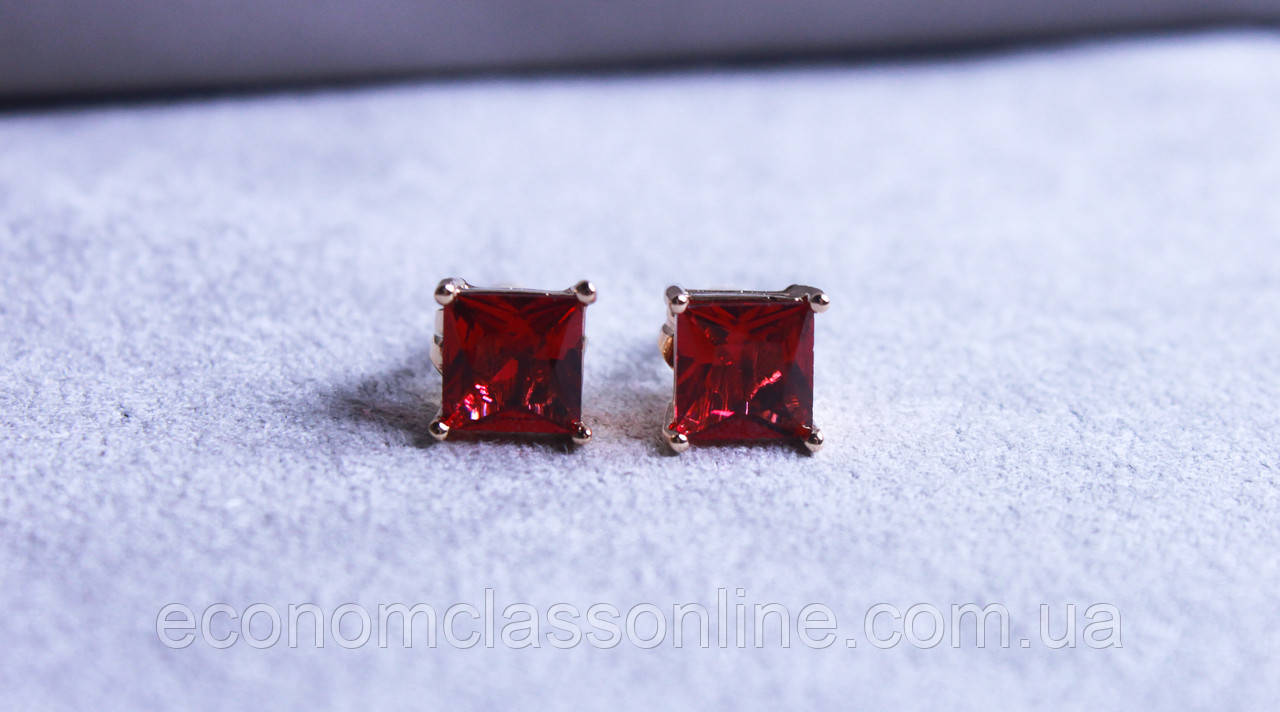Серьги фирмы Xuping с красным фианитом (color ХР1016, 7мм Т0410 красные)