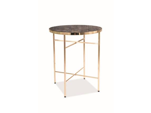 Журнальный столик в гостиную Ibiza C стекло/металл золотистый мрамор 42х42 (Signal), фото 2