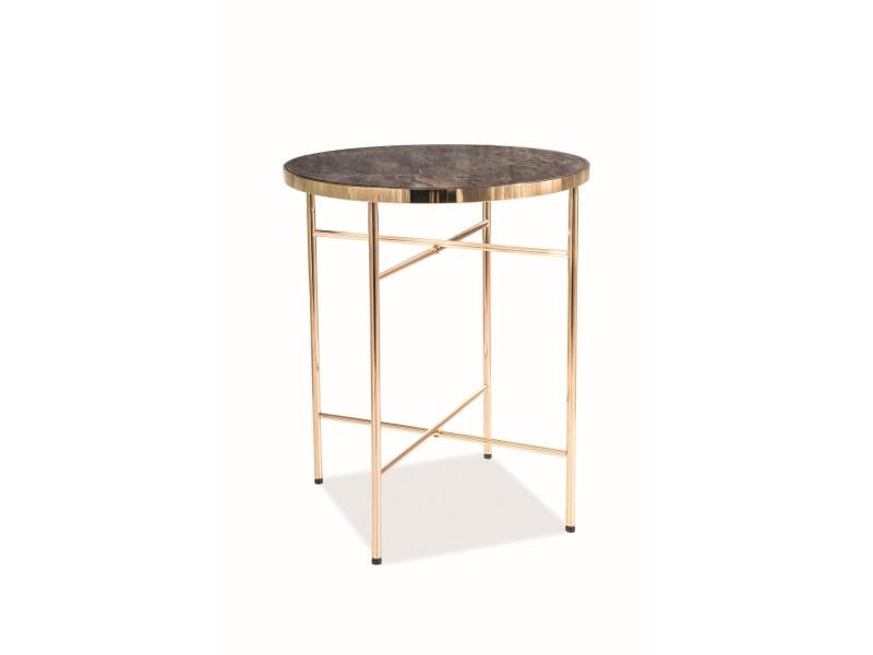 Журнальный столик в гостиную Ibiza C стекло/металл золотистый мрамор 42х42 (Signal)